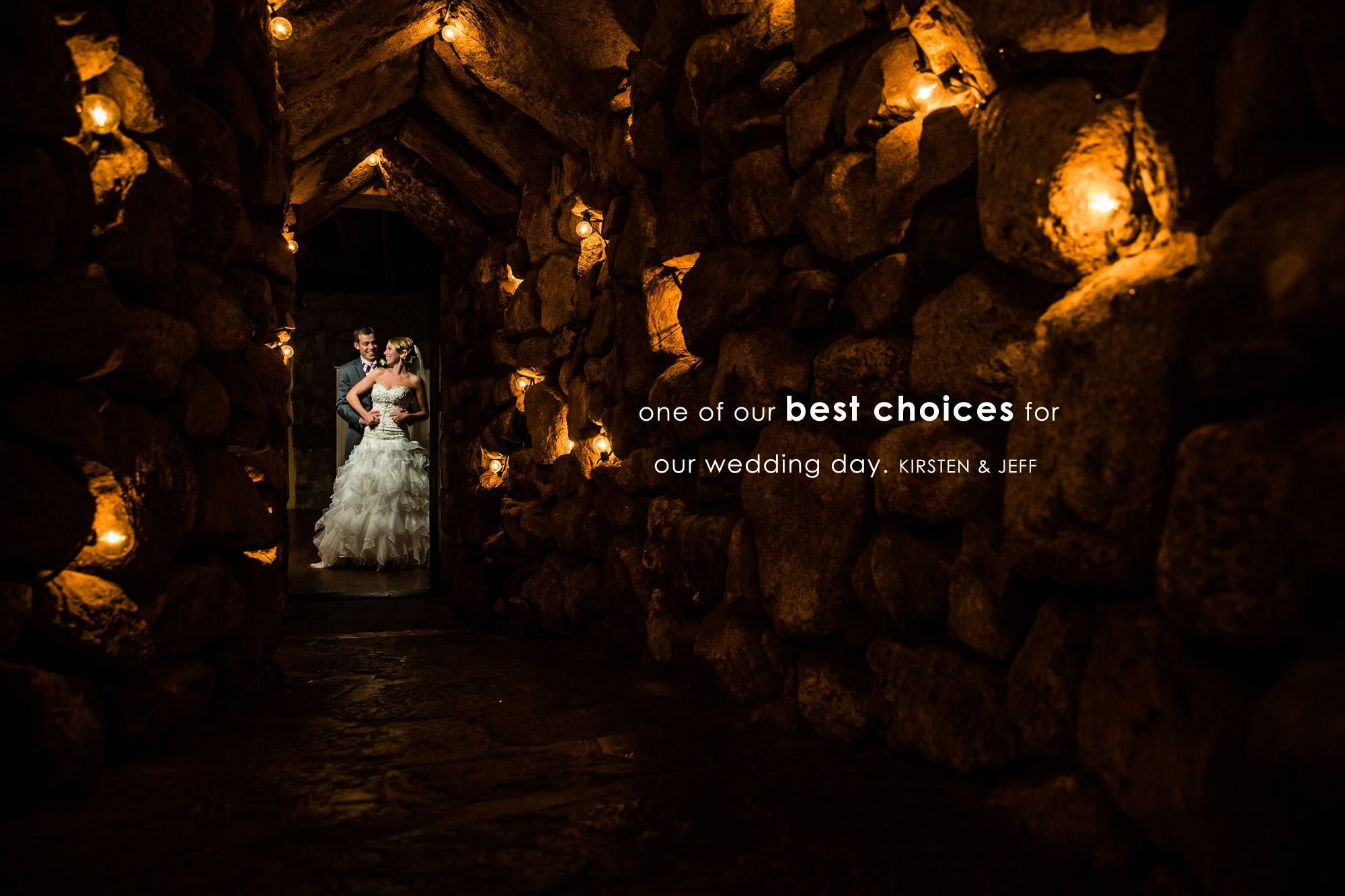 A creative wedding day portrait of a bride and groom at The Cave at the Mount Washington Hotel by NH wedding Photographer Eric McCallister Photography.